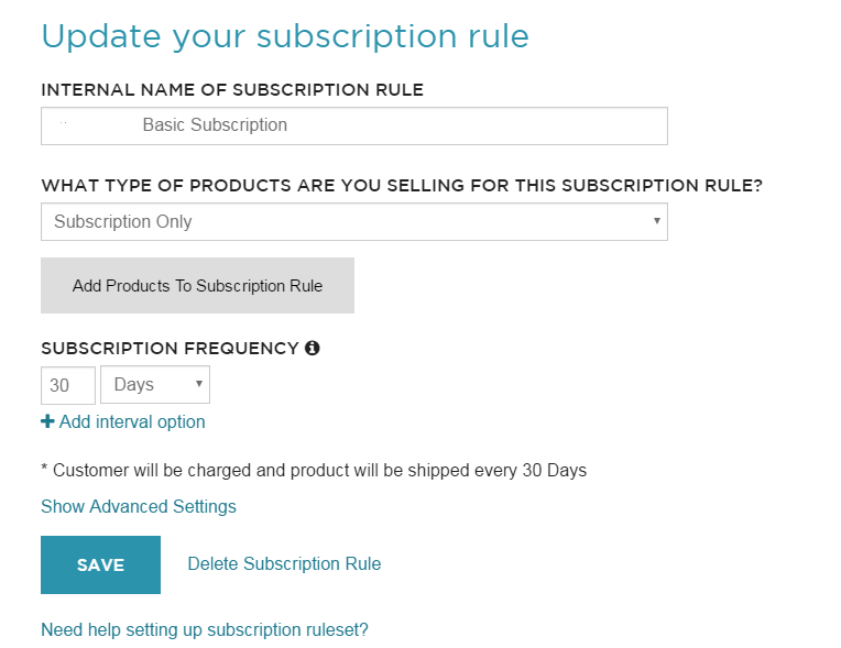 ReCharge Subscription Rule