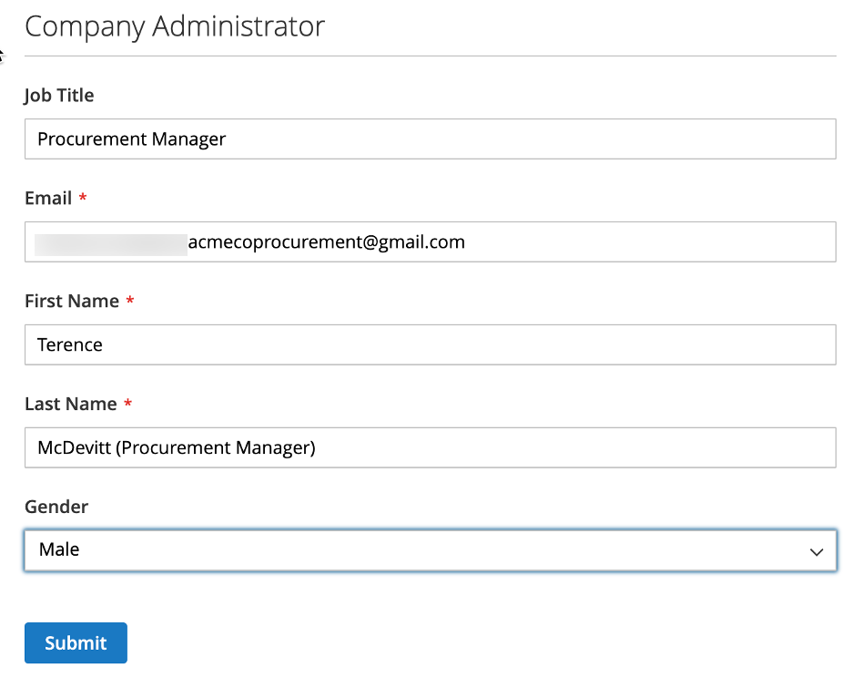 New Company Details - Company Administrator - in Magento's B2B Edition