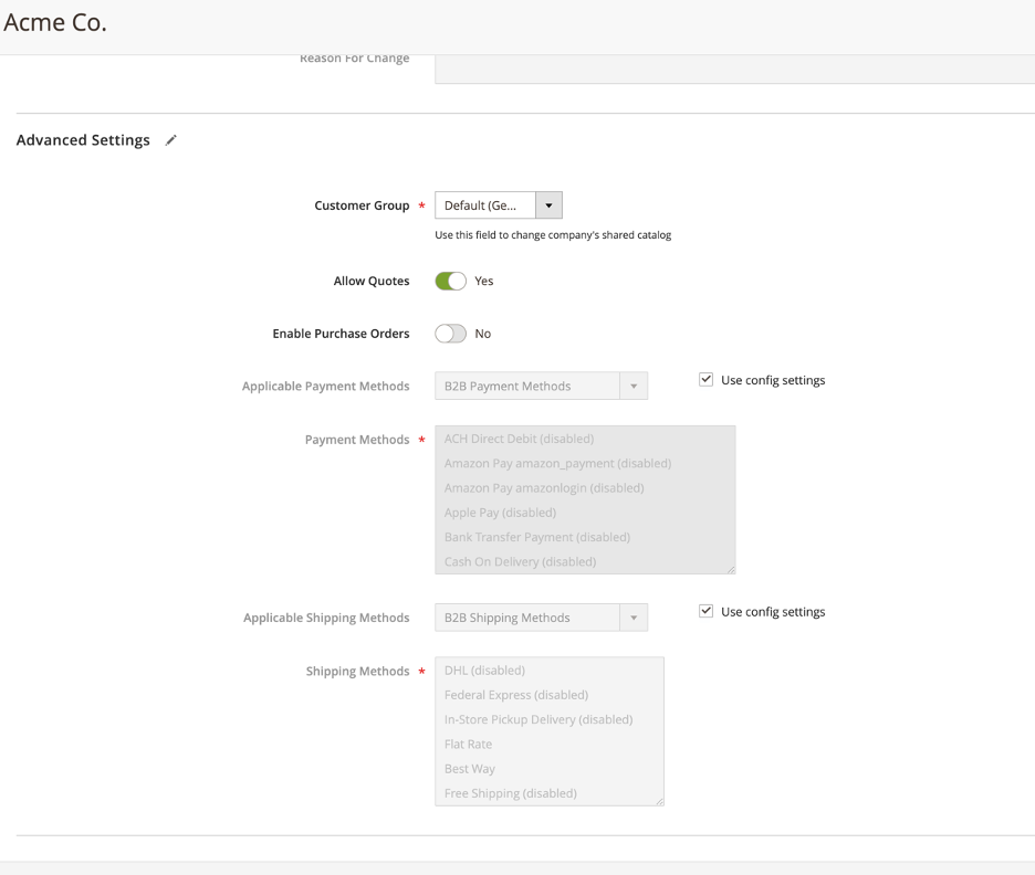 New Company Details - Admin View - in Magento's B2B Edition
