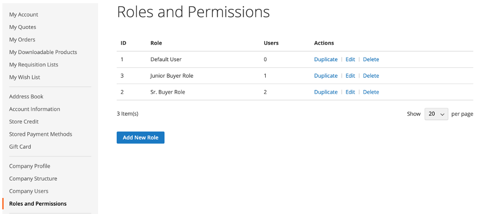 New Company - Managing Roles and Permissions - in Magento's B2B Edition