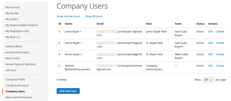 Managing Company Users in Magento's B2B Edition